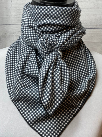 Black Check Cotton Flannel Bandana