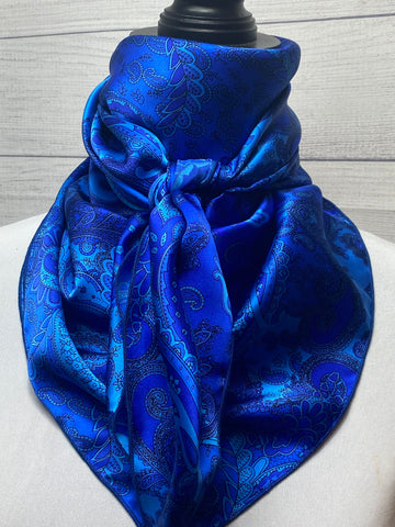 The Cobalt Paisley Silk Large Rag