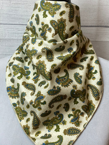 Olive Green Paisley Cotton Neckerchief