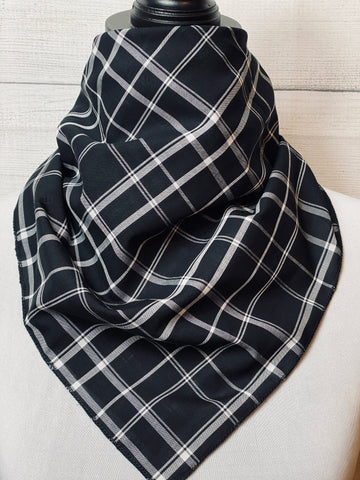 Black and White Plaid Cotton Voile Neckerchief