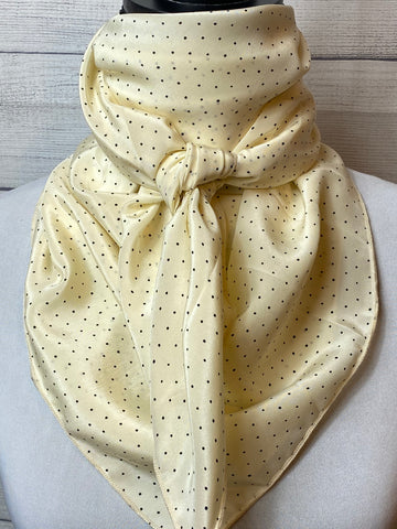 Cream Polka Dot Silk Large Rag