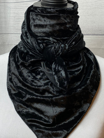 Solid Black Velvet Silk Blend Rag