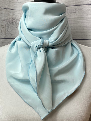 Solid Ice Blue Silk Rag