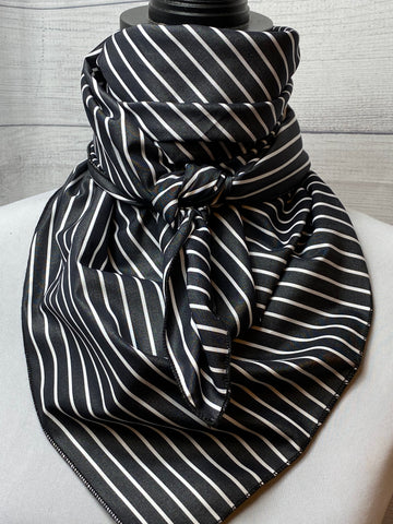 Charcoal Striped Cotton Bandana