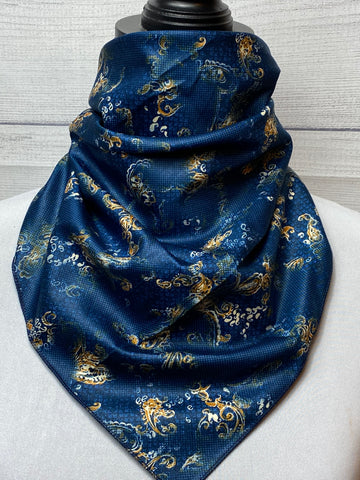 The Navy Paisley Cotton Bandana