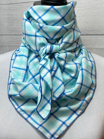 Blue and Teal Plaid Cotton Voile Rag