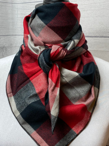 Red Plaid Cotton Flannel Bandana