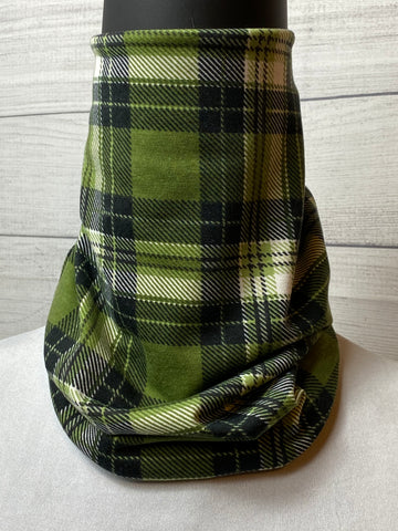 Green Plaid Cotton Neck Gaiter
