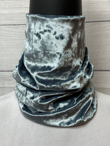 Solid Grey Crushed Velvet Neck Gaiter