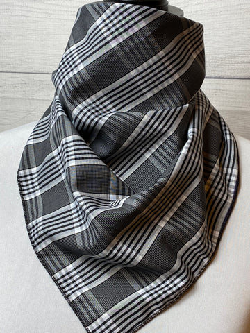 Black Plaid Cotton Bandana