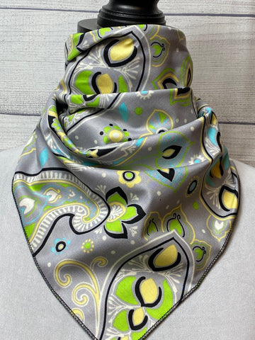 Grey Paisley Cotton Neckerchief