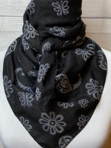 Black & Grey Paisley Cotton Gauze Bandana