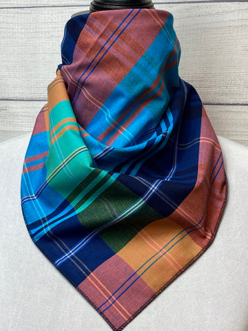 Navy and Turquoise Plaid Cotton Voile Bandana