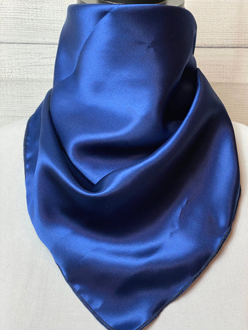 Solid Dark Blue Lightweight Silk Neckerchief