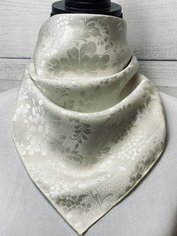 Smoked White Silk Jacquard Neckerchief