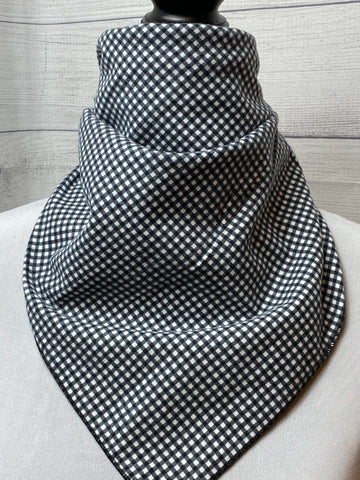 Black Check Cotton Flannel Neckerchief