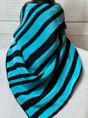 The Turquoise Striped Silk Neckerchief