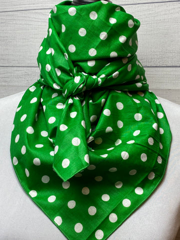 Green Polka Dot Cotton Bandana
