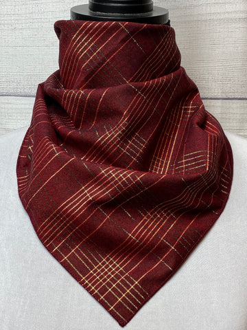 Burgundy & Gold Plaid Cotton Bandana