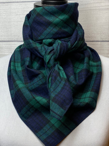 Green Plaid Cotton Flannel Rag