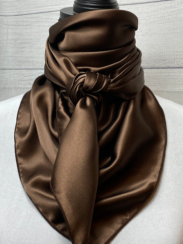 Solid Dark Chestnut Brown Silk Large Rag