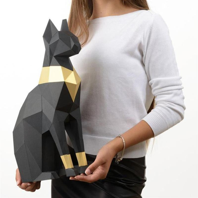 Statue Chat Egyptien Origami XXL - Vraiment-chat