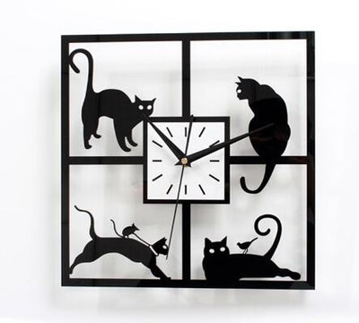 Horloge Chat Carrée