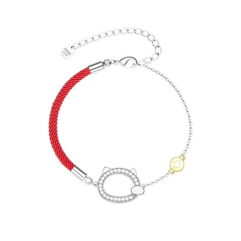 Bracelet Chat Rouge avec pierres brillantes