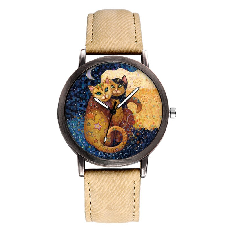 Montre Couple de Chats style Klimt