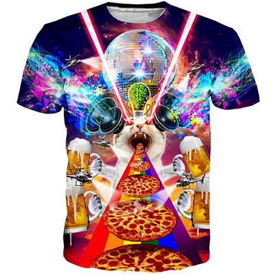 T-Shirt Chat Pizza | vraiment-chat