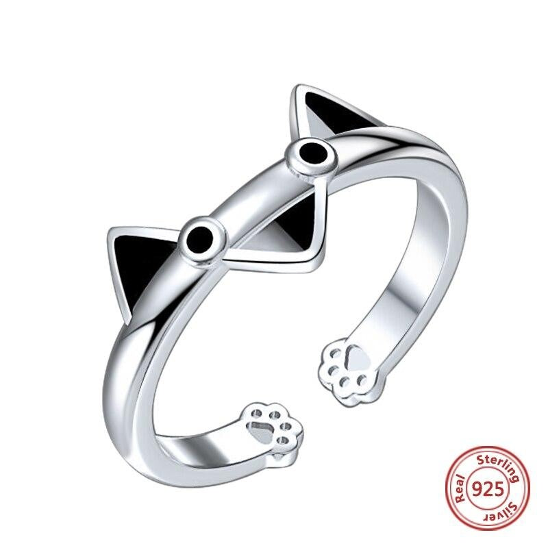 Bague Chat Cartoon (Argent)