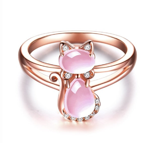 Bague Chat en Or Rose