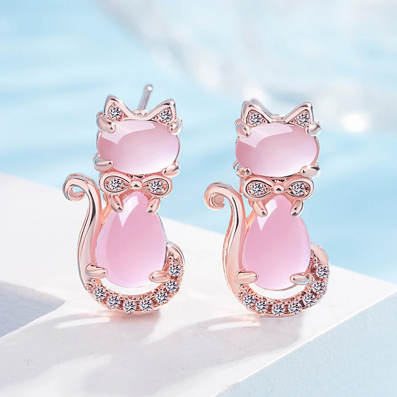 Boucles d'oreilles Chat en Or Rose