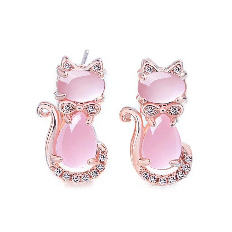 Boucle d'oreille Chat en Or Rose