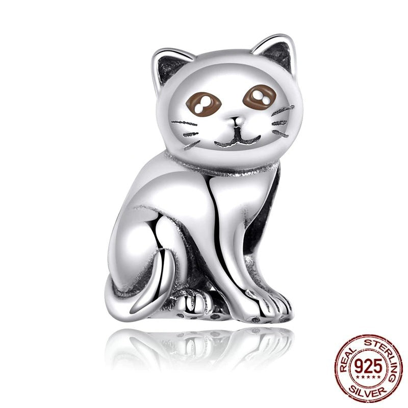 Charms en Argent Chat Assis