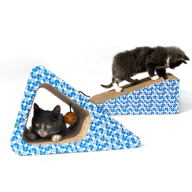 Griffoir pour Chat en Triangle Bleu