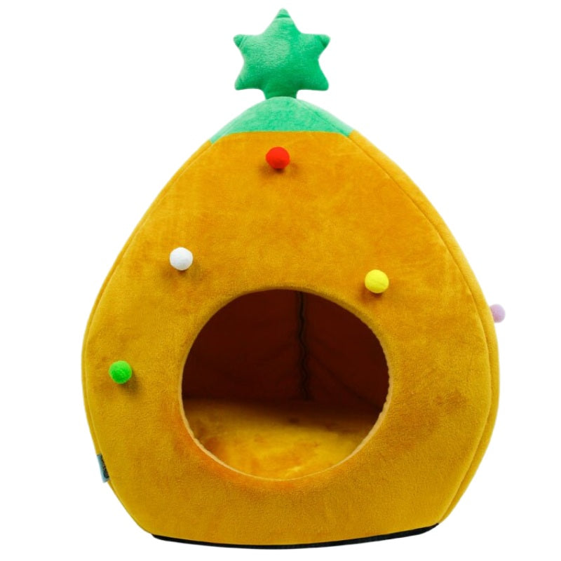 Niche Pour Chat Sapin de Noël Orange