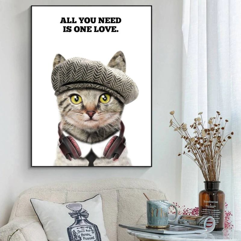 Poster Chaton All you need is one Love | vraiment-chat