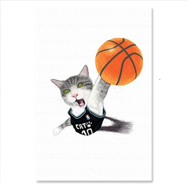 Poster Chat Humour Basket-Ball | vraiment-chat