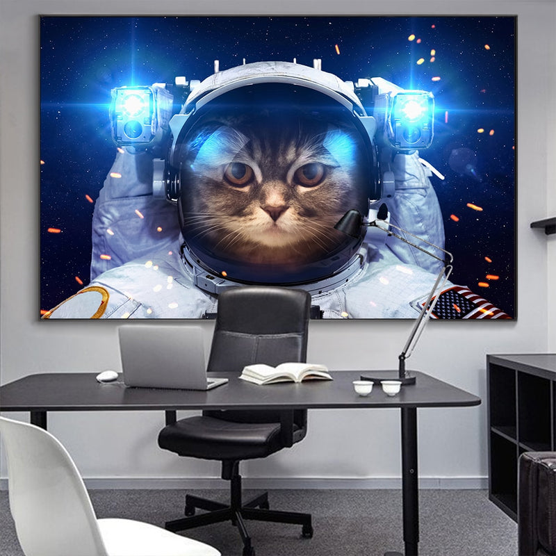 Grand poster Chat Astronaute
