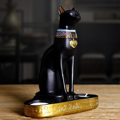 Statue de Chat Egyptien Porte Bougie - Vraiment-chat