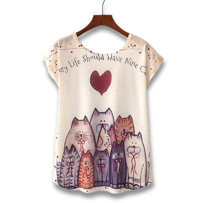 T-shirt Chat Femme Nine Cats | vraiment-chat