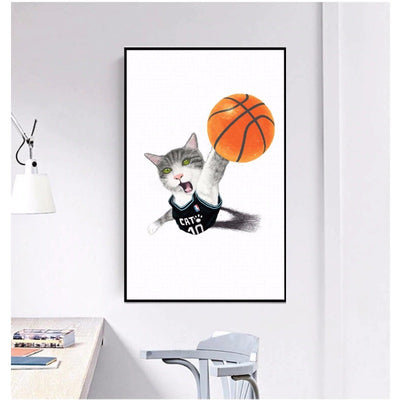 Poster Chat Humour Basket-Ball - Vraiment-chat