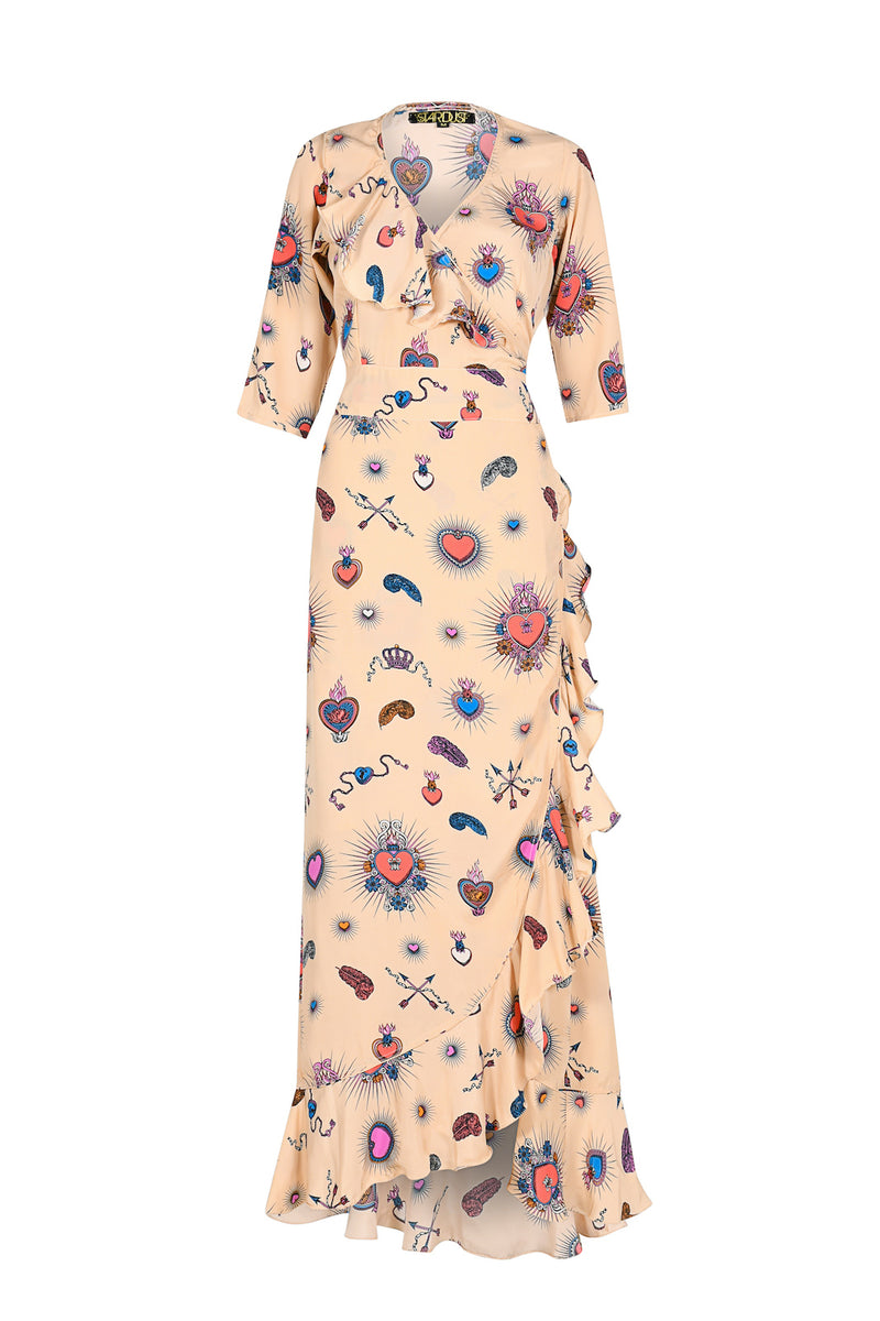 Flamenco Heart Maxi Dress Beige
