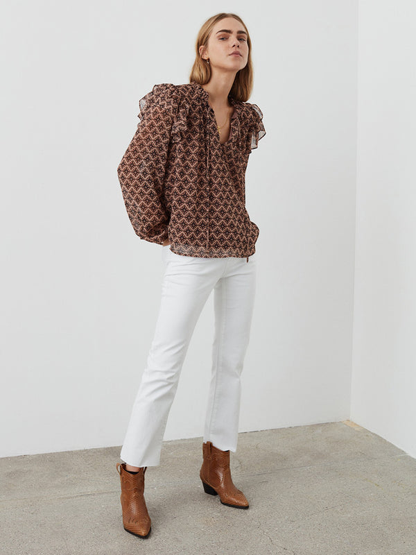 Anne Aztec Frilled Blouse