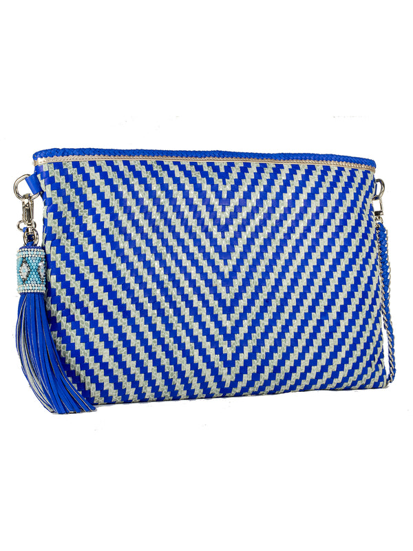 Blue Chevron Clutch