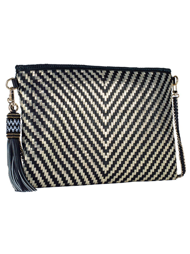 Black & Gold Chevron Clutch