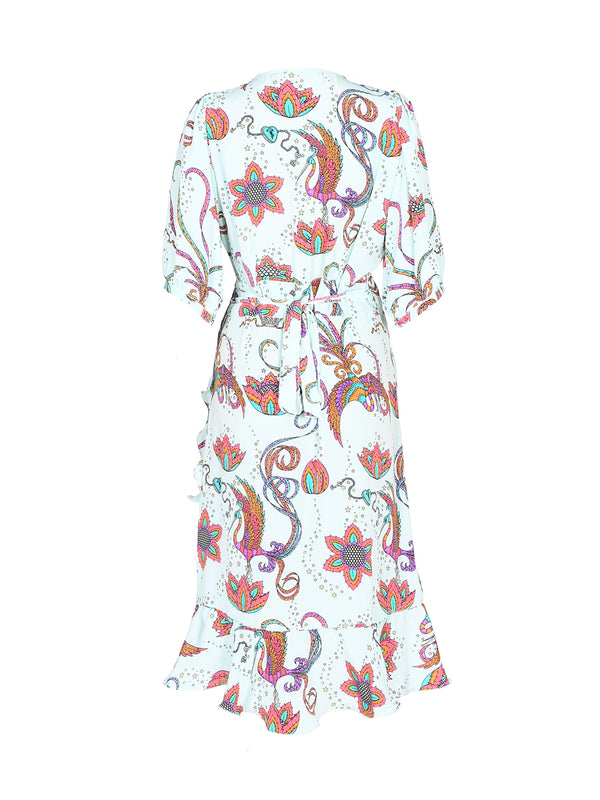Baroque Bird Midi Dress Mint