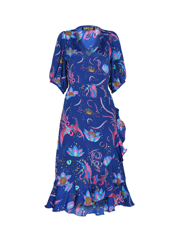 Baroque Bird Midi Dress Navy