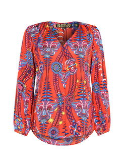 Tribal Betty Blouse Electric Sunset